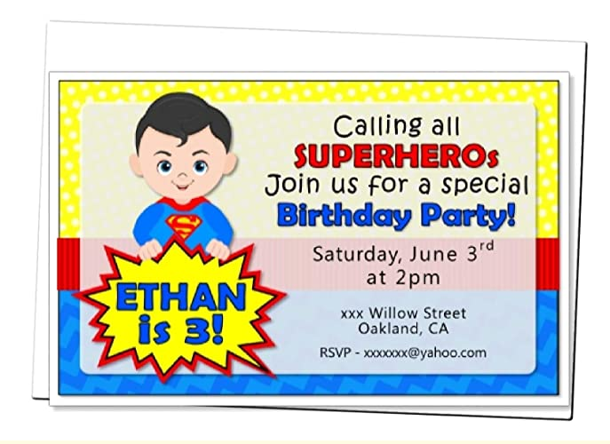 Personalized Superhero Birthday Party Or Baby Shower Invitation