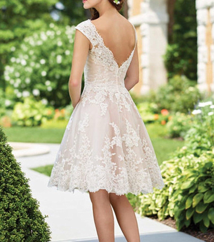 Yasiou Hochzeitskleid Damen A Linie Kurz Spitze T U Ll Standesamt