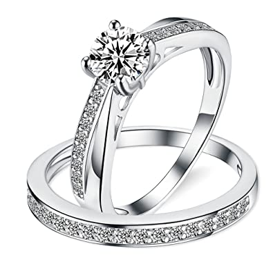 Sreema London 925 Sterling Silver Solitaire Tapering Migraine Women's Wedding Engagement Promise Ring Set
