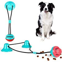 MOZEEDA Dog Molar Bite ToysRubber Chew Toys Self-Playing with Suction Cups Treats Squeaky Ball for Biting Teeth Cleaning…