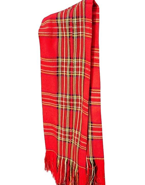 Écharpe écossaise en laine chaude à motif tartan - Moderne et tendance -  Style rétro des années 80 - Rouge  Amazon.fr  Jardin 5e406008304