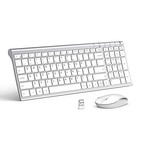 848c9efa8b3 Wireless Keyboard Mouse, Jelly Comb 2.4GHz Ultra Slim Compact Full Size  Rechargeable Wireless Keyboard