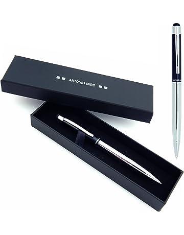 ANTONIO MIRO Bolígrafo Puntero Negro Plata Metálico (tinta azul), Satisfacción Garantizada, Presentación
