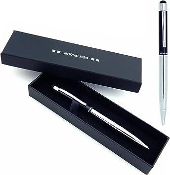 ANTONIO MIRO Bolígrafo Puntero Negro Plata Metálico (tinta azul), Satisfacción Garantizada, Presentación Estuche con logotipo ideal para regalo: Amazon.es: Juguetes y juegos