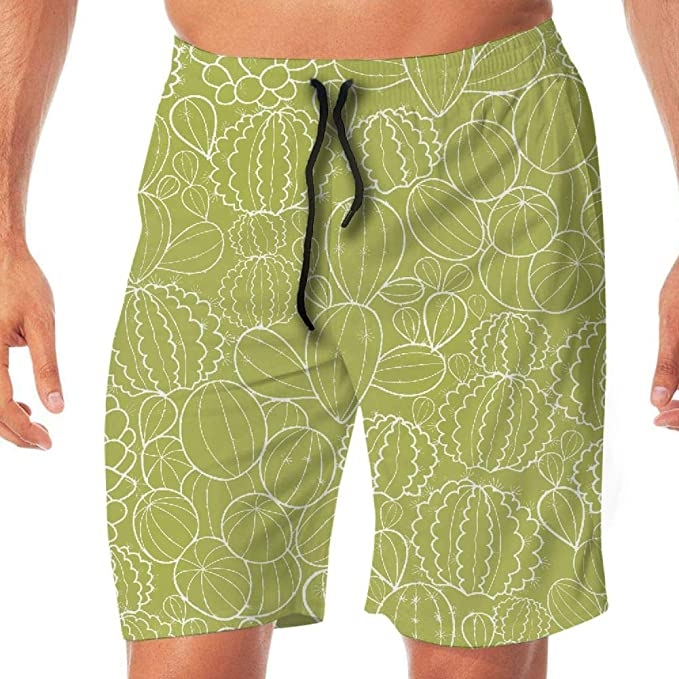 Amazon Com Liandijiachuang Cactus Man Workout Swim Beach Shorts