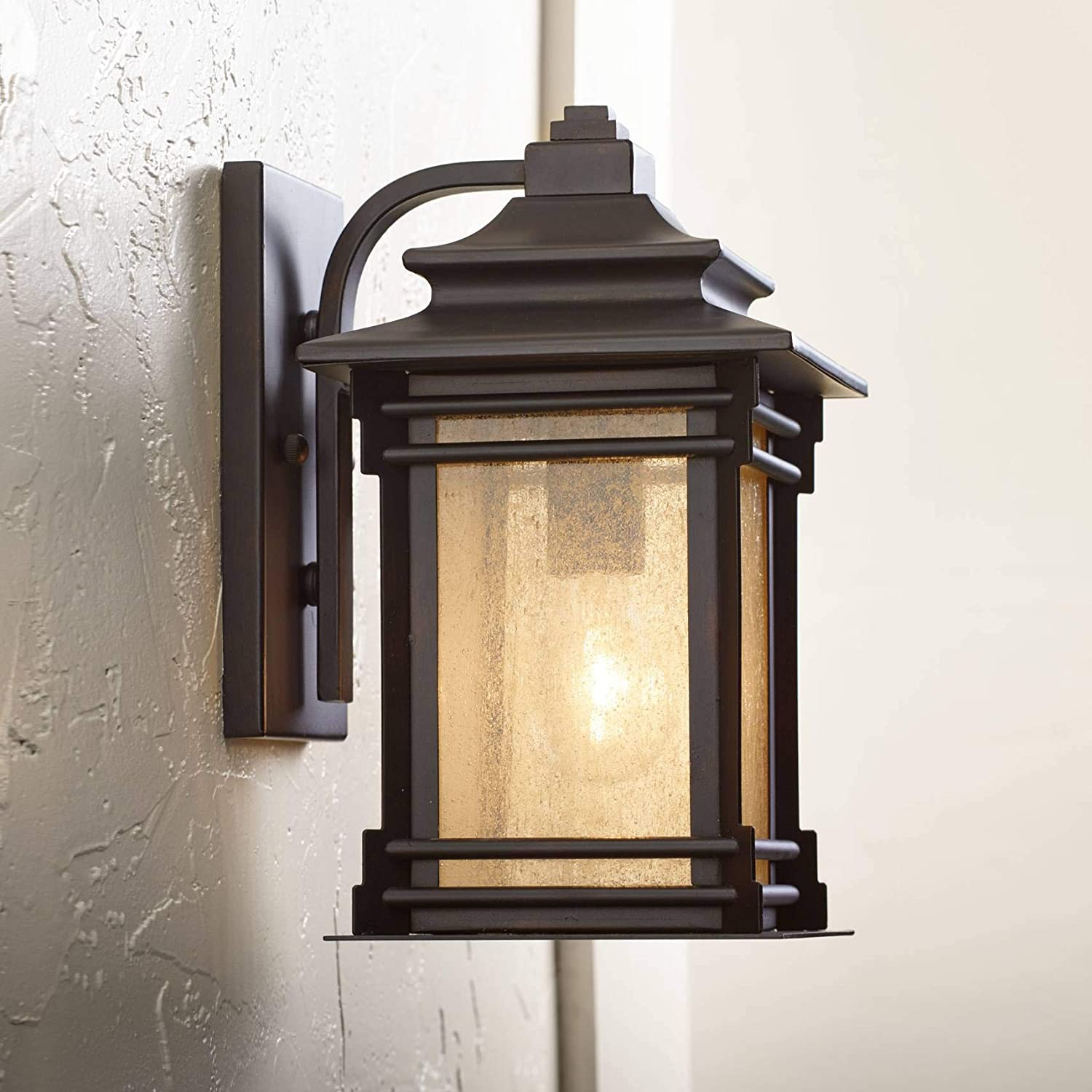 Hickory point 12 high bronze outdoor light mission craftsman style frosted glass panel for patio porch franklin iron works wall porch lights amazon