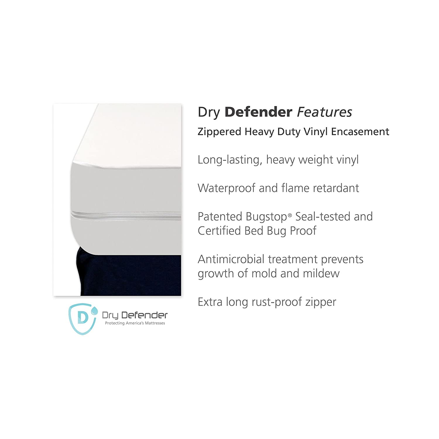 Amazon.com: Dry Defender Heavy Duty Vinyl Zippered Mattress Protector - 9  Inch Depth - Twin: Health & Personal Care