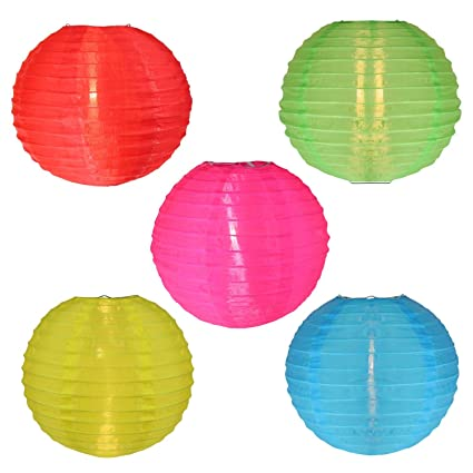 Sienna Asian Fusion Colorful Chinese Lantern Garden Patio Lights With White  Wire, Set Of 5