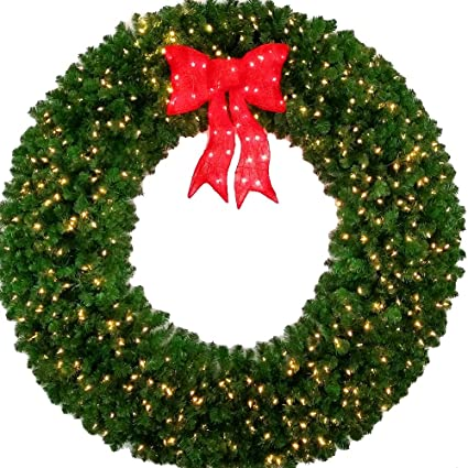 6 foot led christmas wreath with pre lit red bow 72 inch 600