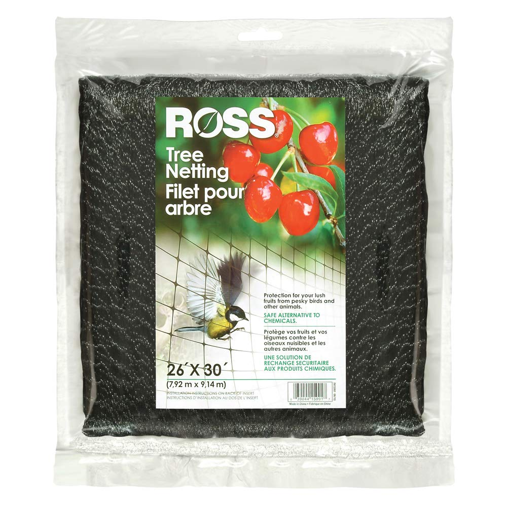 Ross 15991 UV Tree Netting Protects Fruits from Birds and Animals, 26 feet x 30 feet Black