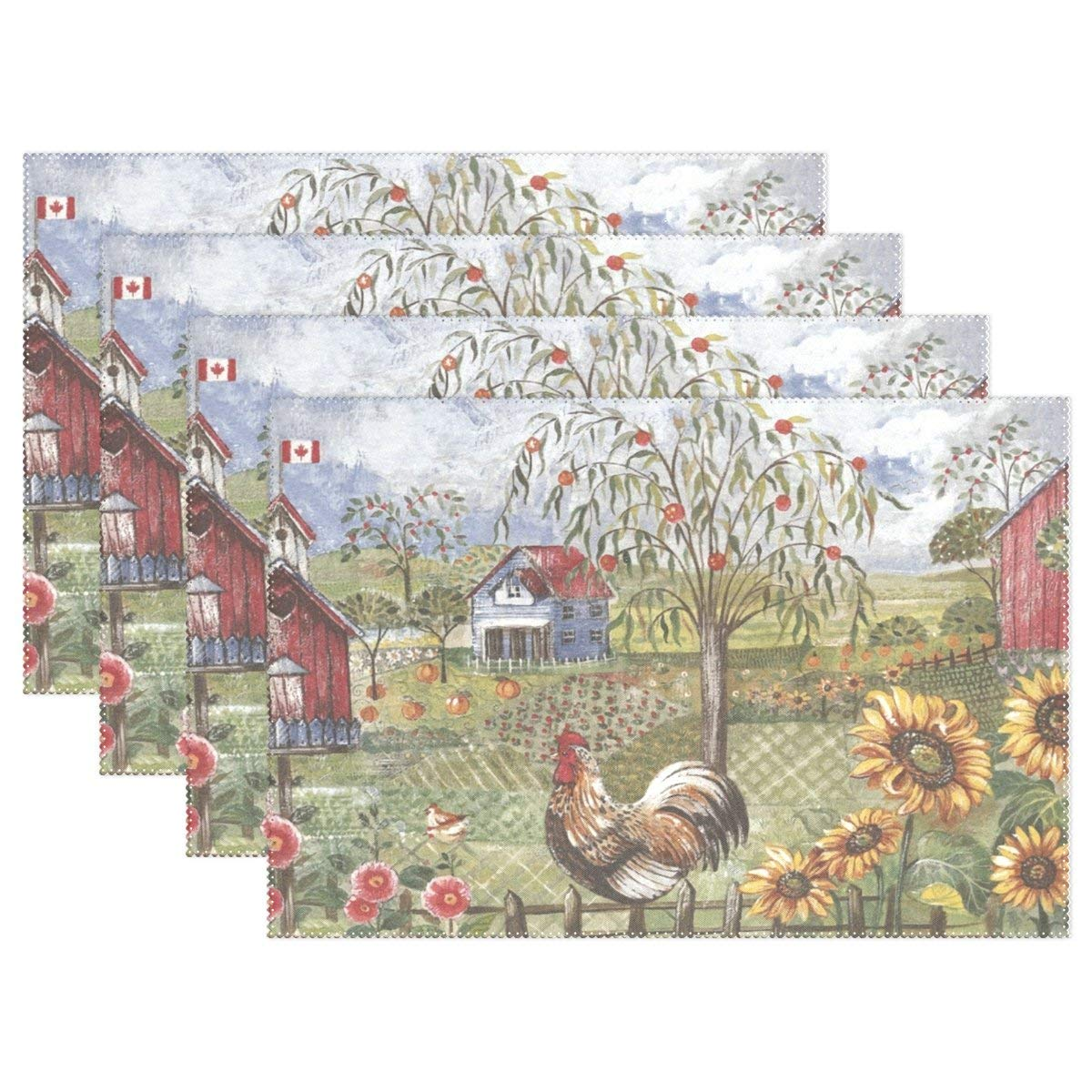 Promini Heat-Resistant Placemats, Blue Rooster Farm Washable Polyester Table Mats Non Slip Washable Placemats for Kitchen Dining Room Set of 4