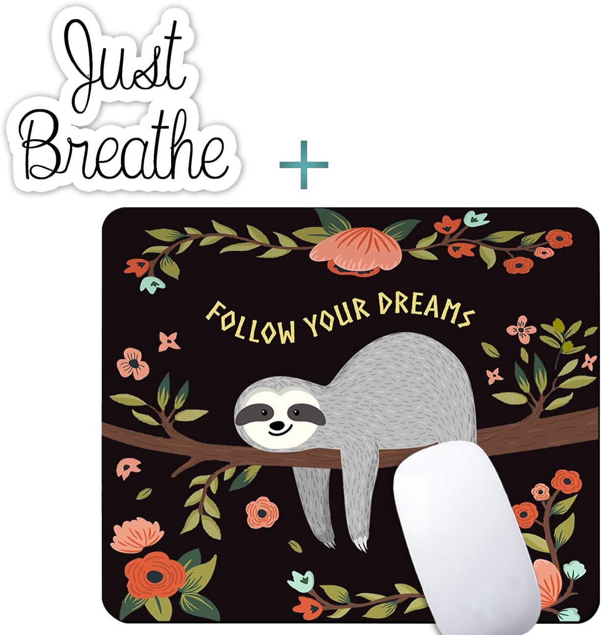 Cute Sloth Mouse Pad,Customized Rectangle Non-Slip Rubber Gaming Mousepad Computer Mouse Pad Mat with Laptop Stickers