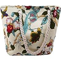 VWH Vintage Embroidery Handbag Beach Bag Floral Bird Printed Canvas Shoulder Bag for Lady Single Shoulder Bag Shopping…