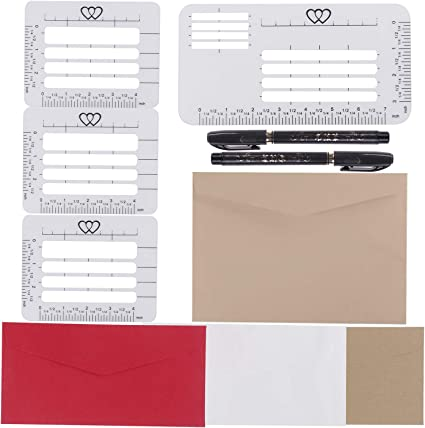 AOPOO 4 Styles Envelope Addressing Guide Addressing Stencil Templates for 4 Assorted Colors Envelopes with 4 Size Brush Pens for Making Thank You Cards