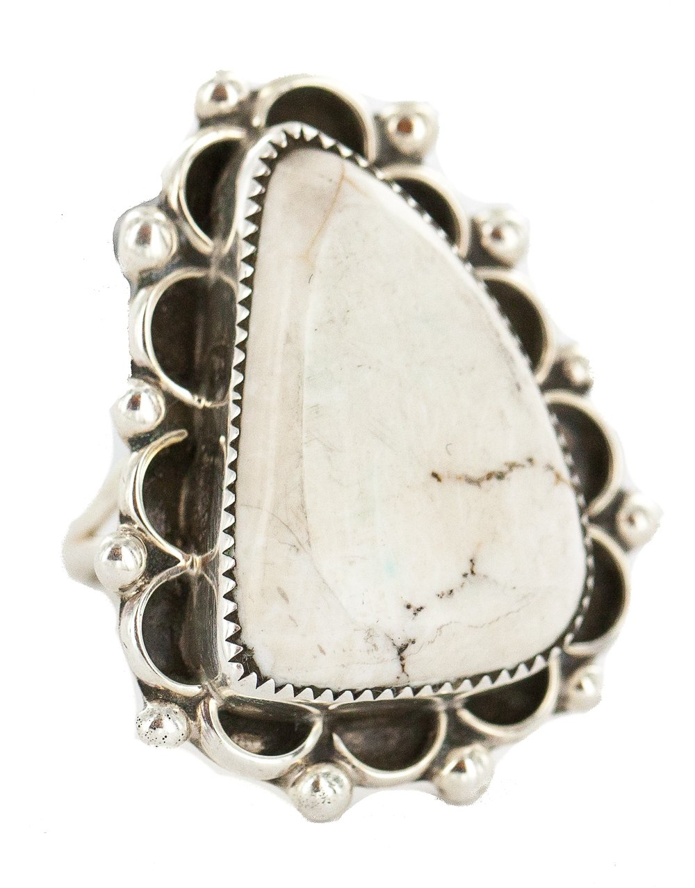 Large $490 Retail Tag Handmade Navajo Authentic Silver Made by Robert Little Natural White Buffalo Turquoise Native American Ring