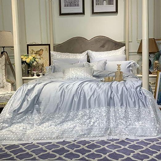YIEBAI, Funda de edredón Juego de sábanas de algodón egipcio 100S bordado gris Juego de sábanas de edredón princesa Fundas de almohada 4 piezas, color 2, tamaño King 4 piezas: Amazon.es: Amazon.es