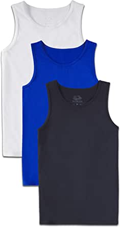 Fruit of the Loom Boys 3P1800B Solid Multi-Color Soft Tank Tops, 3 Pack Sleeveless Shirt - Multicolor