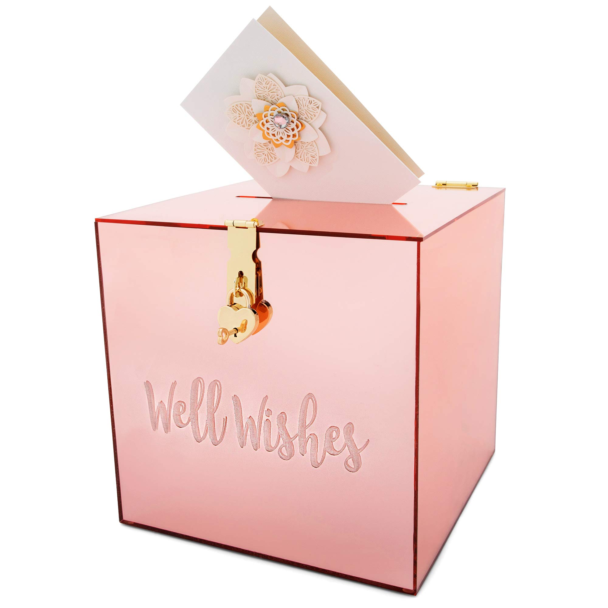 Belle & Ivory Gift Card Box with Rose Gold Mirror Finish for Anniversary, Birthday - Large, Acrylic Wedding Envelope Boxes for Reception, Engagement Party, Baby Shower - Elegant Wishing Well Card Box