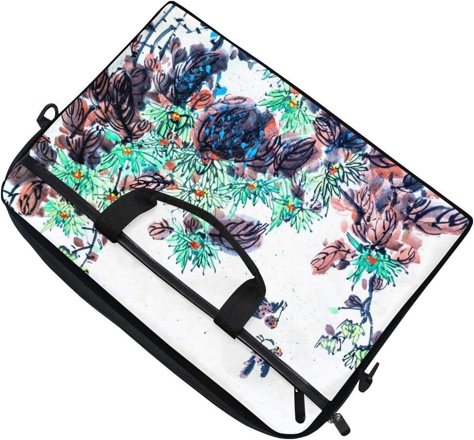 White Floral Ink Painting Flower Laptop Messenger Shoulder Bags Tablet Tote Briefcase Computer Case Handbag Men Women Ladies