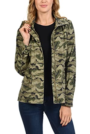 67179cc24e344 Auliné Collection Women's Drawstring Utility Anorak Military Camo Jacket  Olive Camo Small