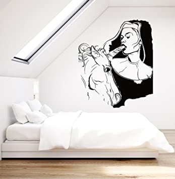 Amazon com wall stickers vinyl decal sexy decor girl teen with unicorn sexiest decor ever z2212i m 22 5 in x 30 in black home kitchen