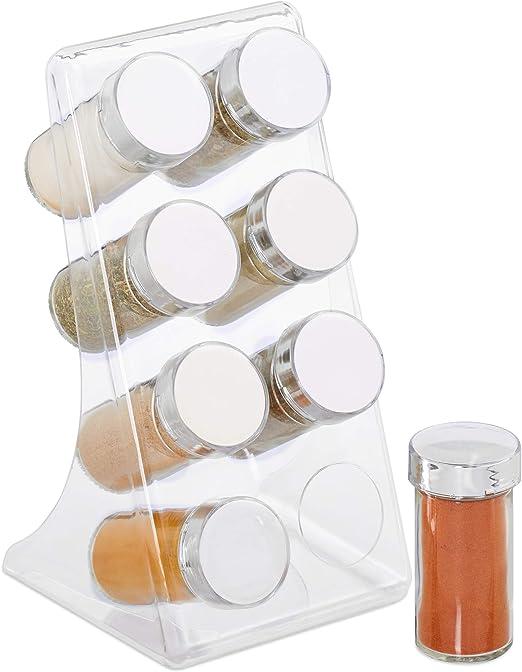 Dosificadores 1 Ud Cierre de rosca Marr/ón Negro Diez recipientes para especias Relaxdays 10028825 Especiero Soporte de bamb/ú