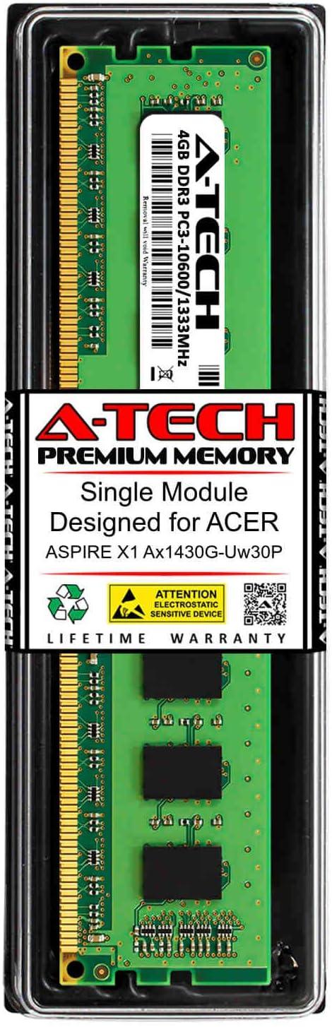 A-Tech 4GB RAM for ACER Aspire X1 AX1430G-UW30P | DDR3 1333MHz DIMM PC3-10600 240-Pin Non-ECC UDIMM Memory Upgrade Module