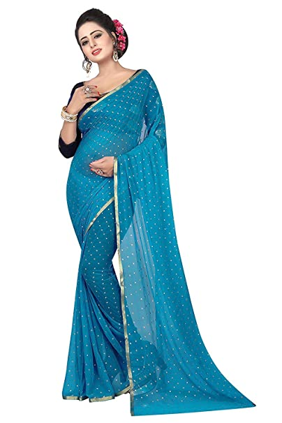 ca80bfb949a9ba Dhwani Enterprise Women's Sky Blue Chiffon Soft Silk Saree with Unstitched  Blouse Piece (Free Size): Amazon.in: Clothing & Accessories