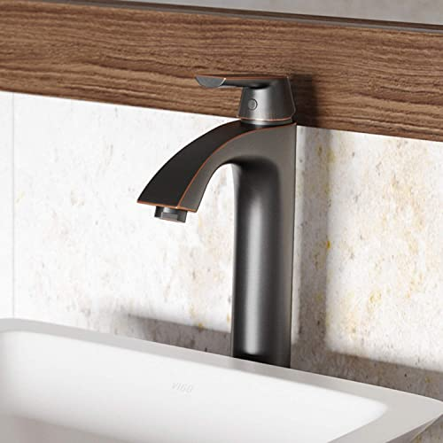 VIGO VG03013ARB Linus Antique Rubbed Bronze Bathroom Faucet, Lavatory Vessel Sink Faucet with Unique 7 Layer Finish, Matching Pop Up Included