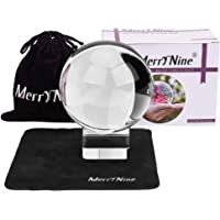 MerryNine K9 Crystal Ball, Photograph Crystal Ball with Stand and Pouch, K9 Crystal Suncatchers Ball with Microfiber Pouch, Decorative and Photography Accessory (80mm/3.15″ Set, K9 Clear)