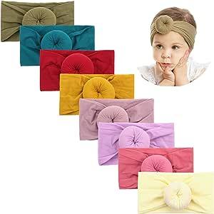 Makone Handmade Soft Stretchy Nylon Headband with Big Bows Knots Flowers for Infant Baby Girls - - Style-1