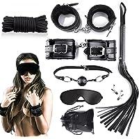 Slaves manille des jouets sexuels pour les amants SM amoureux des femmes et des hommes dans le lit 9 pièces en noir Adulte Sex Tools Bondage BDSM Mesdames 9 Pcs Noir (Noir)