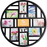Mkun 4x6 Wall Photo Frame - Round Circular Circle Wall Hanging Picture Photo Collage Frame with Love Word Art, 9…