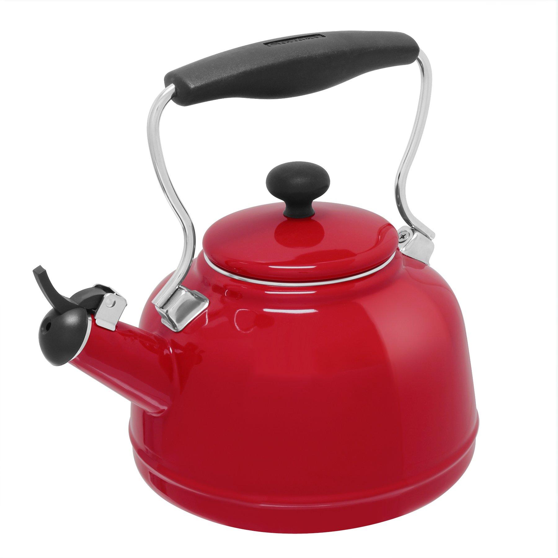 Chantal 37-VINT RE Enamel on Steel Vintage Teakettle, 1.7 quart, Red