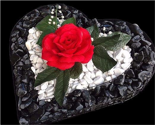 Herzgitter Decoración para tumba con grava negra pulida, gravilla blanca decorativa y una rosa roja, 35 x 35 x 4 cm, con gavión en forma de corazón: Amazon.es: Jardín