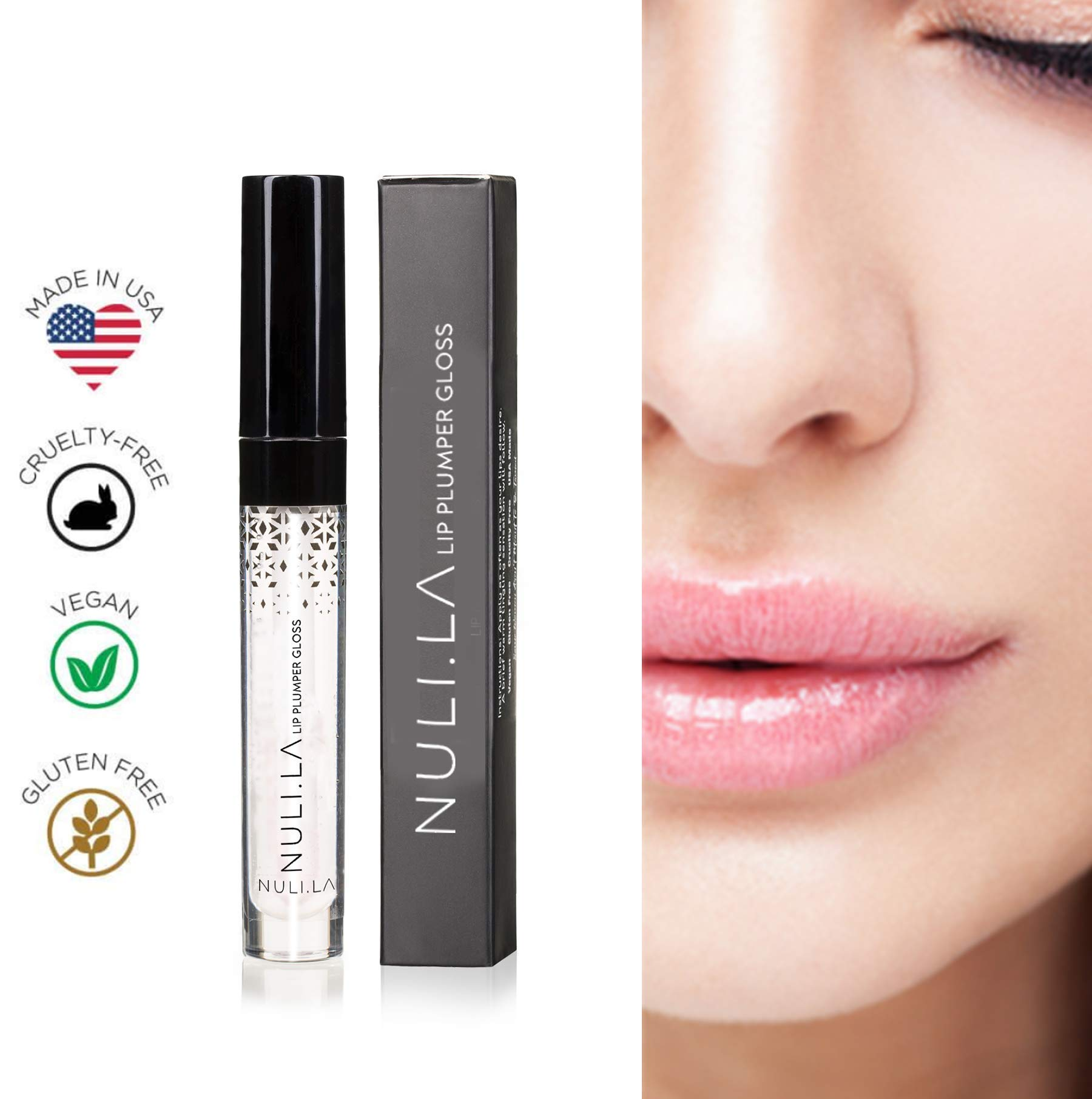 Nuli La Lip Plumper Lip Gloss is all Natural Serum with Vitamin E, Antioxidants and Hydrating Skin Conditioning Agents for Pouty Shiny Lips - Lip Plumpers that Really Work