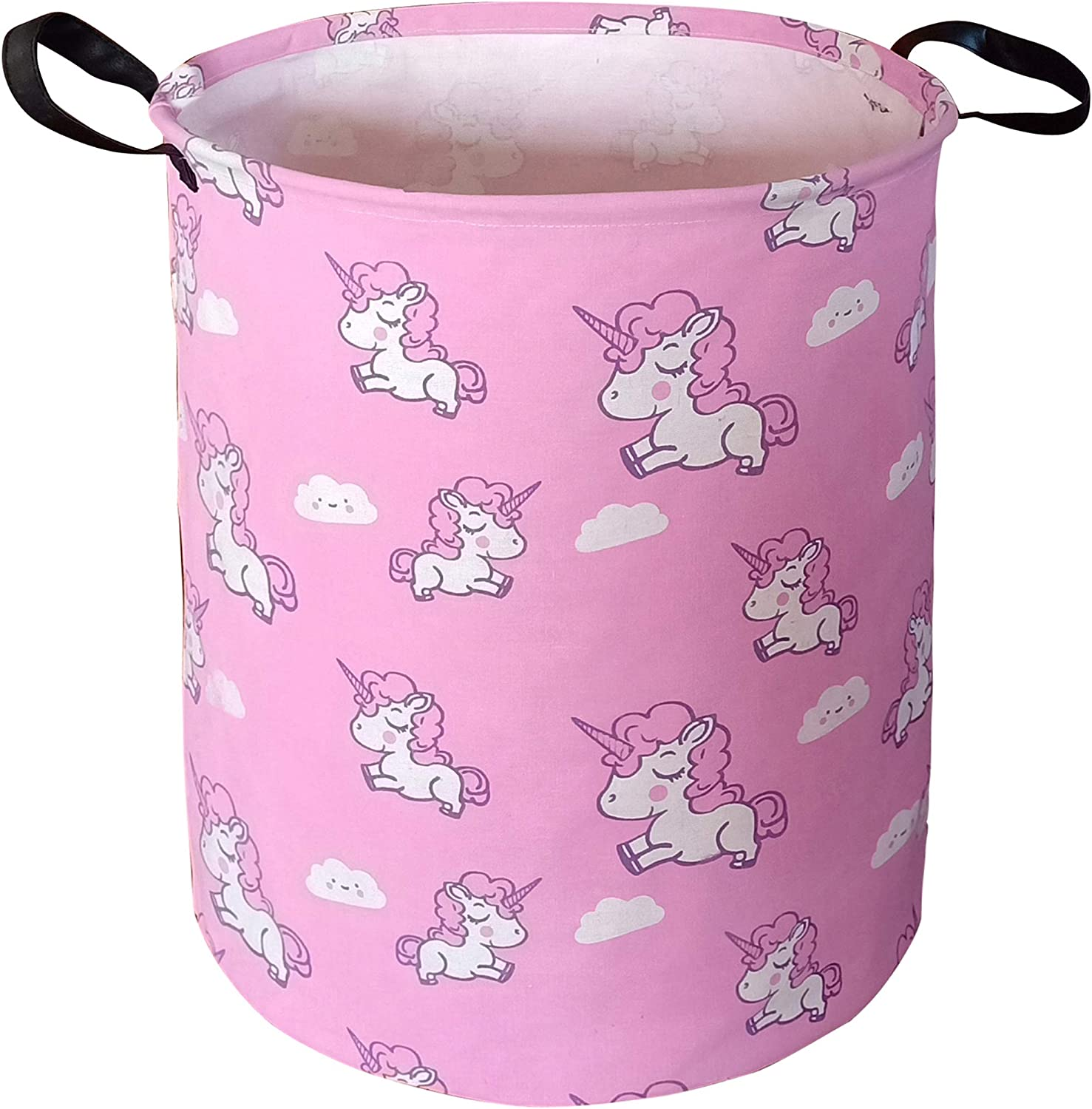 KUNRO Large Sized Storage Basket Waterproof Coating Organizer Bin Laundry Hamper for Nursery Clothes Toys (Pink Unicorn)