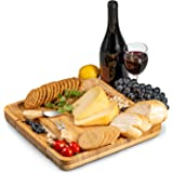 Premium Bamboo Cheese Board and Cutlery Set, 4 Stainless Steel Serving Utensils Charcuterie Platter and Serving Meat…
