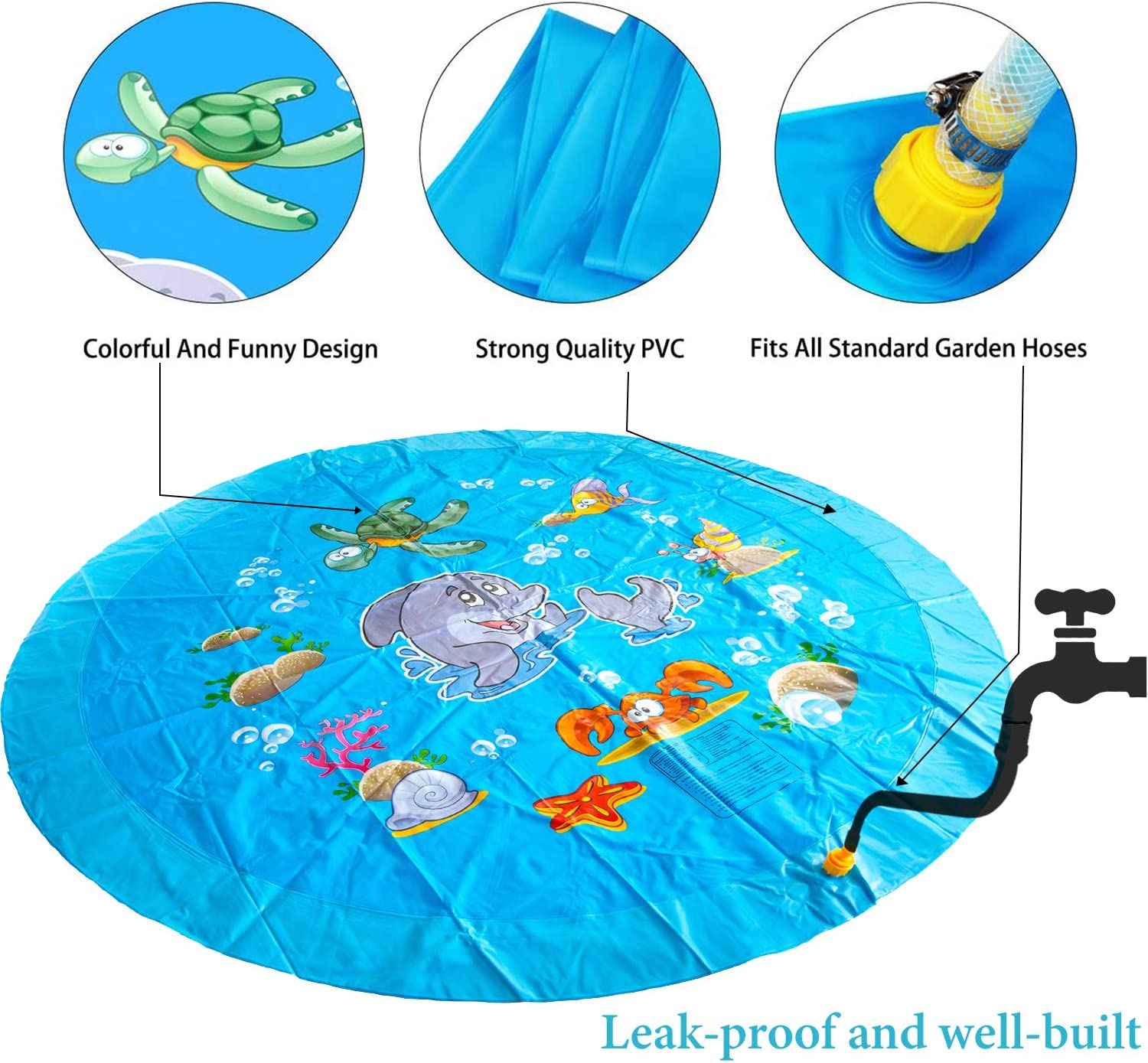 Heavy-Duty Splash Pad for Kids Summer Toys for Toddlers,Baby Water Mat for Backyard Games Toysery Inflatable Sprinkler for Kids Water Play Mat for Outdoor Activities and Fun Stuff