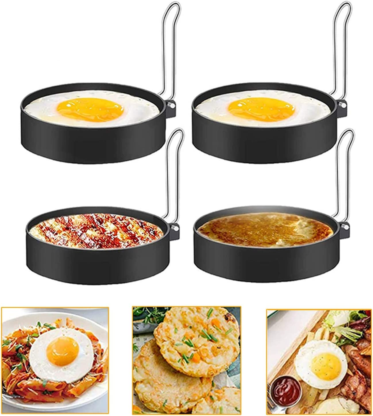 Egg Ring, Round Pancake Mold Egg Mcmuffin Sandwich Maker Bacon Cooker Poached Egg Maker Nonstick Metal Rings Breakfast Household Kitchen Cooking Tool for Frying Eggs (4 Pack)