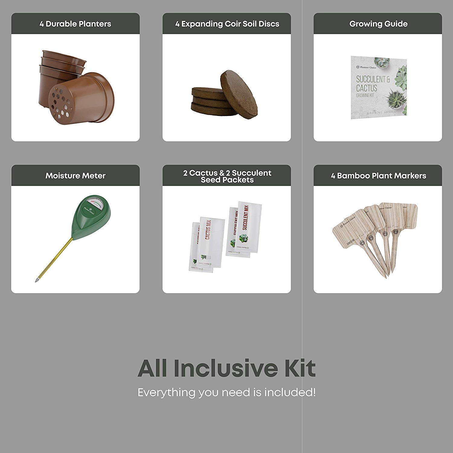 Succulent & Cactus Growing Kit with Moisture Meter - Grow 4 Plants - Includes Everything Needed to Grow Successfully - Great Gift (Cactus & Succulent) by Planters' Choice (Image #3)