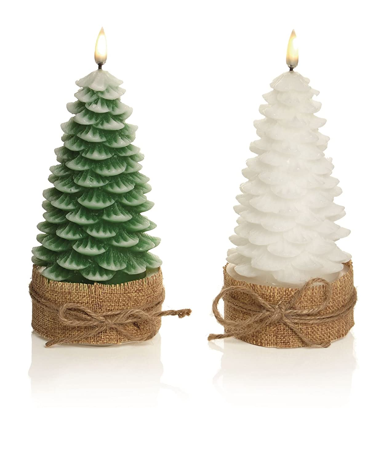 1 x 19cm FLICKERING FLAME Battery Operated REAL WAX Christmas TREE SHAPED Lovely CANDLE, 1 Colour selected randomly! Premier Decorations