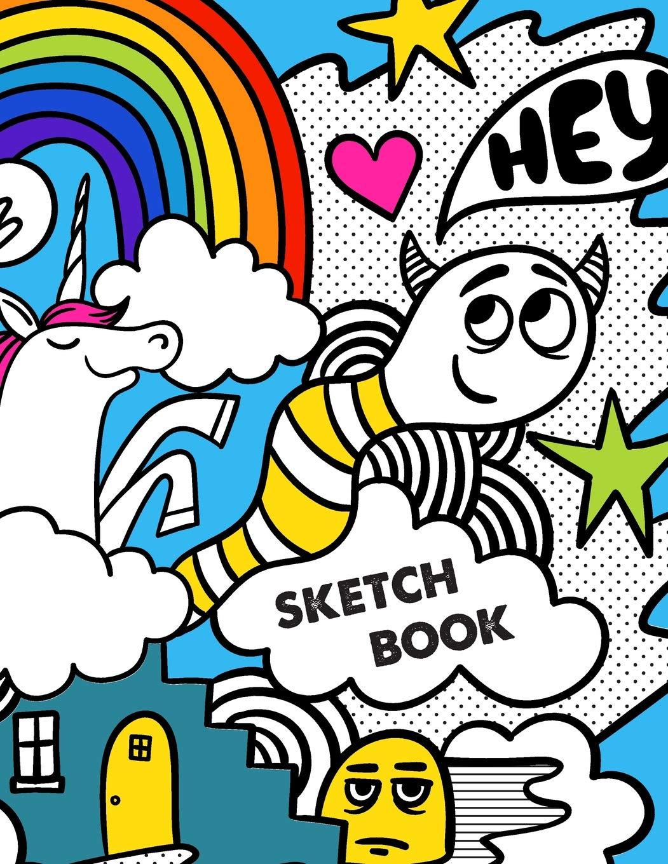 Sketch Book Retro 80s Unicorn Monster Doodles Sketchbook