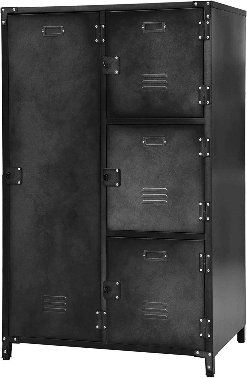 Allspace 4 Door Wardrobe Steel Storage Locker with Dark Weathered Finish -240038
