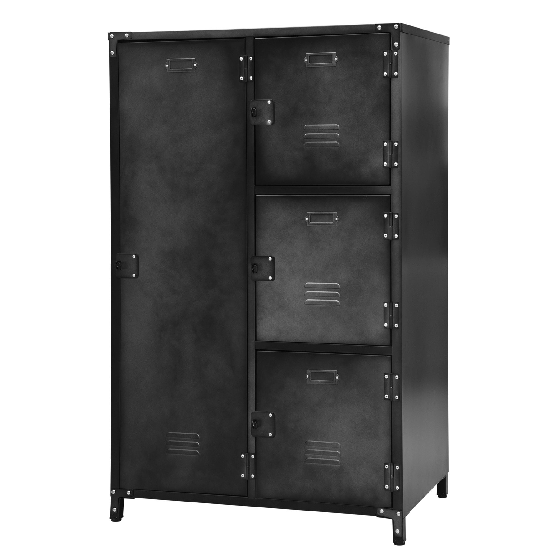 Allspace 4 Door Wardrobe Locker Blk Weathered Finish SCRATCH & DENT DEAL -240123 by Allspace