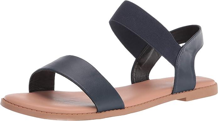 Sandalias Planas De Ancho Ancho Para Mujer Sandalias Clásicas De Una Banda Elástica Con Correa Cómoda Para El Verano Azul Shoes Amazon Com