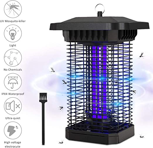 Image of BACKTURE Lámpara Antimosquitos, 18W UV LED Lámpara Antimosquitos IPX4 Impermeable, 4000V Voltaje Colgando Mosquito Killer Lámpara de Insectos para Interior y Exterior Hogar Jardín