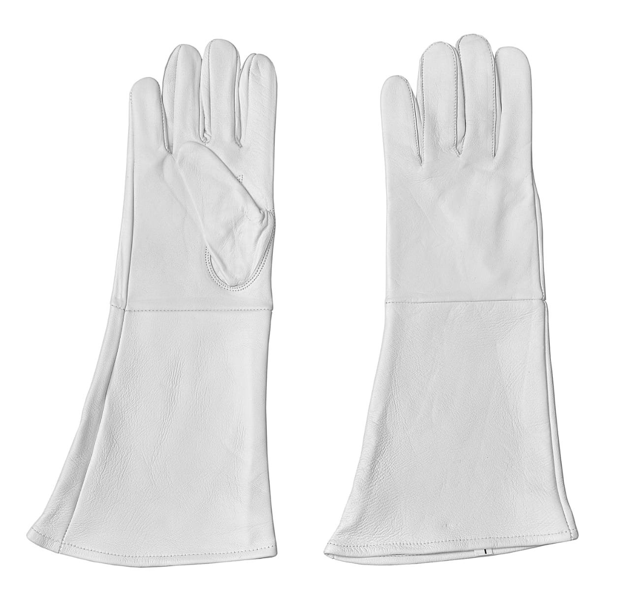 White Leather Gauntlet Medieval gloves long arm cuff (X-Large) by Gloves 007