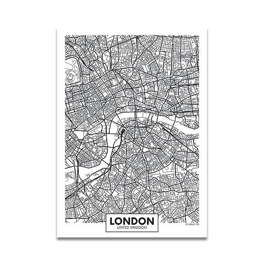 Mapa de la ciudad del cartel de la palabra en blanco y negro ...