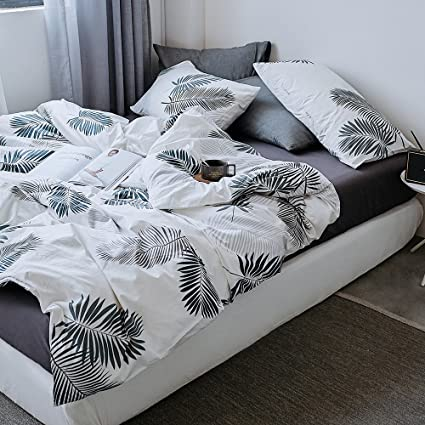 b362397aaf78 VClife Cotton Bedding Duvet Cover Sets Queen Bedding Sets Reversible White  Gray Leaf Trees Print Bedding